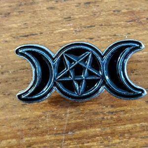 Accessories - Triple Moon Wiccan Witch Enamel Pin Badge